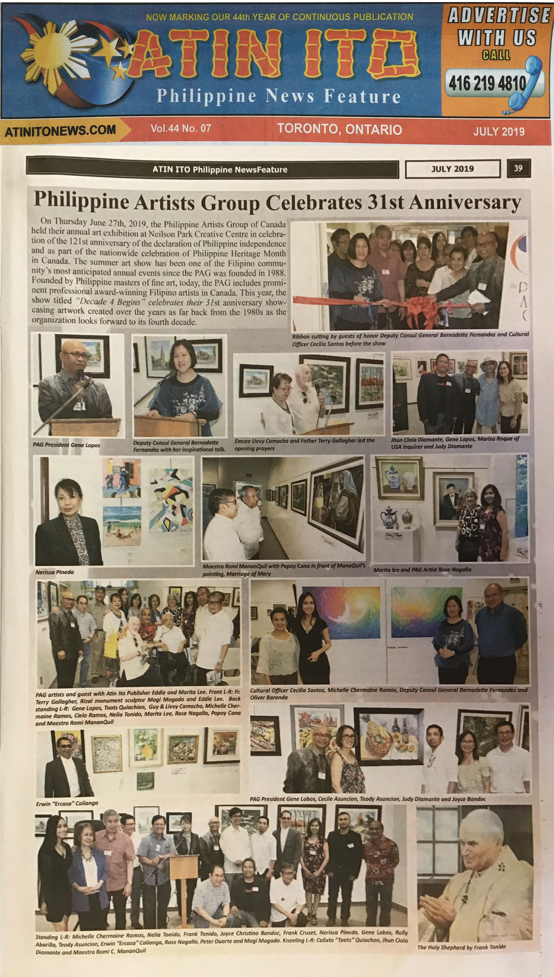 Philippine Artists Group of Canada Celebrates 31st Anniversary