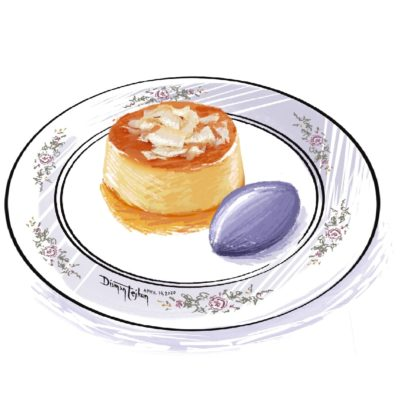 Leche flan with ube